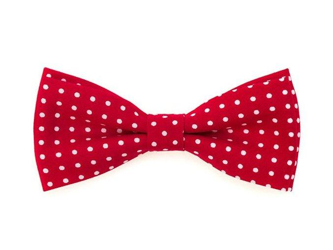 Dvojitý motýlek Avantgard bavlněný - červený s puntíky