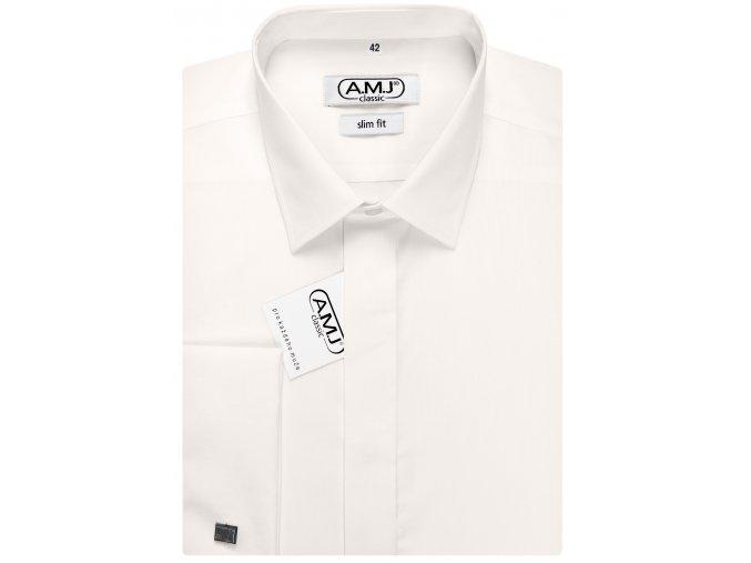 Společenská košile AMJ Comfort fit s dvojitou manžetou - smetanová