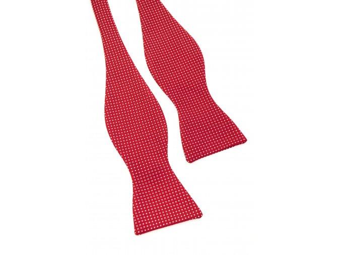 Vázací motýlek Avantgard s kapesníčkem - červený s bílým puntíkem
