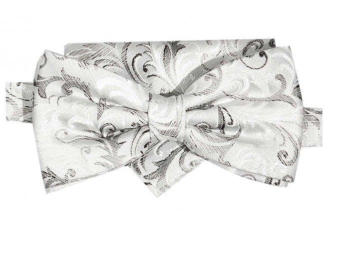 Dvojitý motýlek Brinkleys Classic kapesníčkem - světle bílošedý
