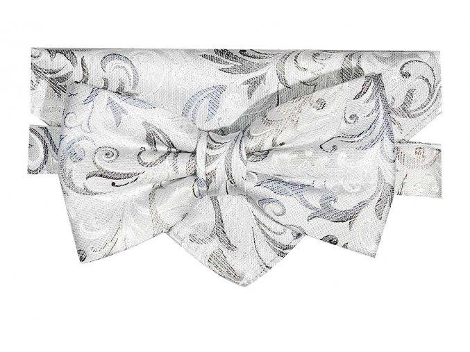 Dvojitý motýlek Brinkleys Classic s kapesníčkem - šedomodrý