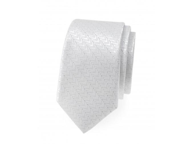 Úzká luxusní kravata Avantgard - bílá