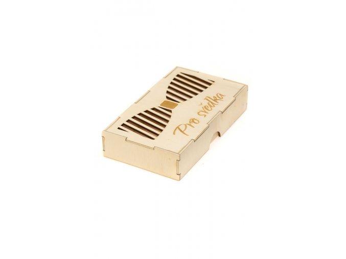 """Dřevěná dárková krabička na motýlek """"Pro svědka"""""""