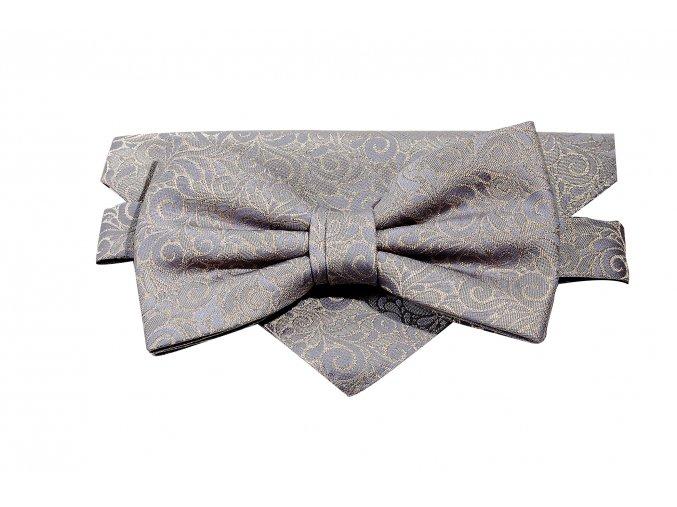 Dvojitý motýlek Brinkleys Classic s kapesníčkem - šedohnědý