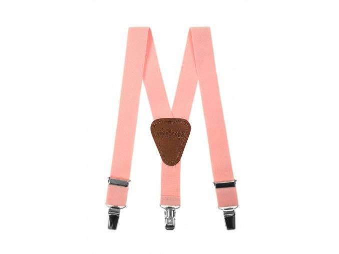 Chlapecké šle Avantgard - světle růžové, tmavě hnědá kůže 120 cm
