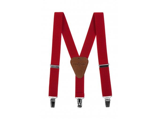 Chlapecké šle Avantgard - červené, tmavě hnědá kůže 100 cm