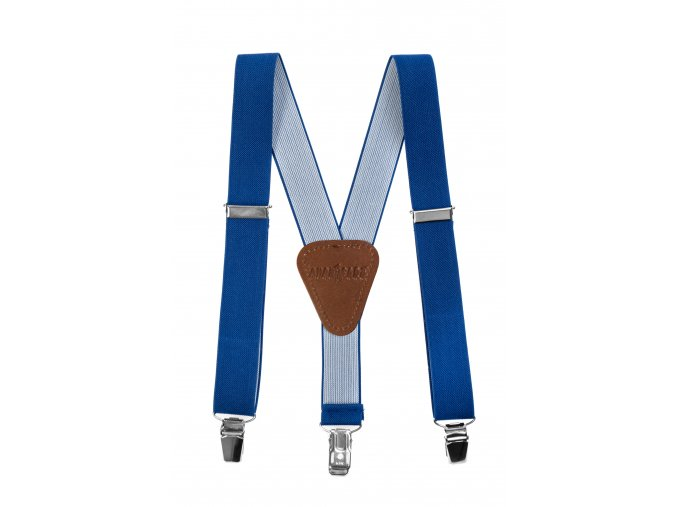 Chlapecké šle Avantgard - královsky modré, tmavě hnědá kůže 80 cm