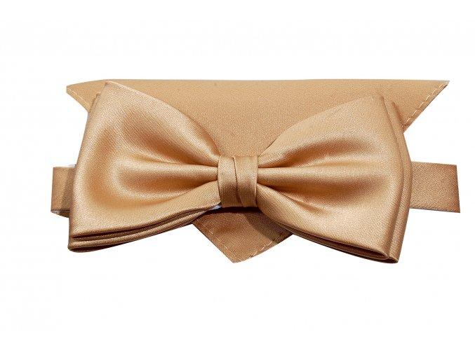 Dvojitý motýlek Brinkleys Classic s kapesníčkem - lískový oříšek