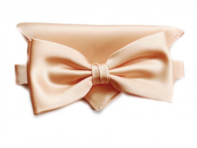 Dvojitý motýlek Brinkleys Classic s kapesníčkem - světle meruňkový
