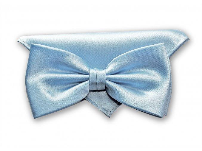 Dvojitý motýlek Brinkleys Classic s kapesníčkem - světle modrý