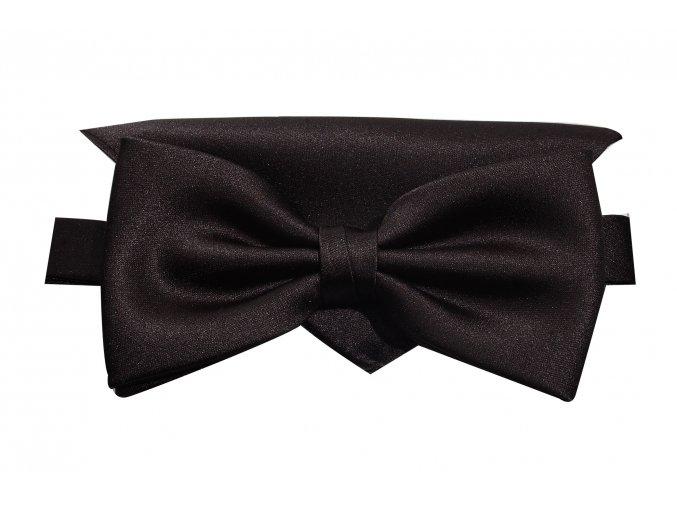 Dvojitý motýlek Brinkleys Classic s kapesníčkem - černý