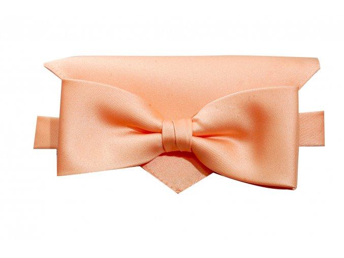 Dvojitý motýlek Brinkleys Modern s kapesníčkem - meruňkový