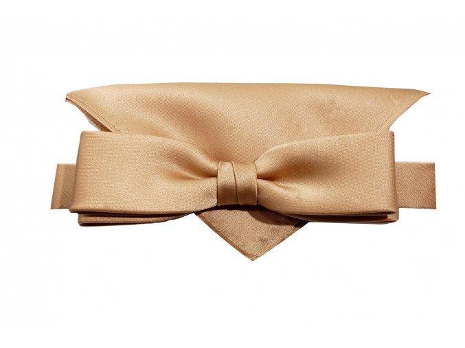 Dvojitý motýlek Brinkleys Slim s kapesníčkem - lískový oříšek