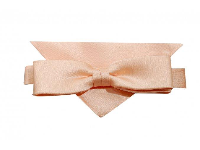 Dvojitý motýlek Brinkleys Slim s kapesníčkem - světle meruňkový