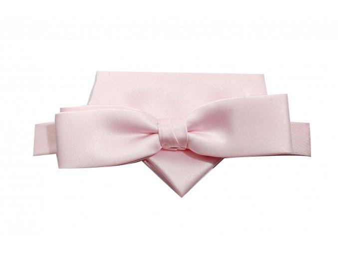 Dvojitý motýlek Brinkleys Slim s kapesníčkem - růžový