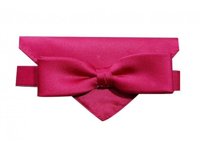 Dvojitý motýlek Brinkleys Slim s kapesníčkem - sytě růžový