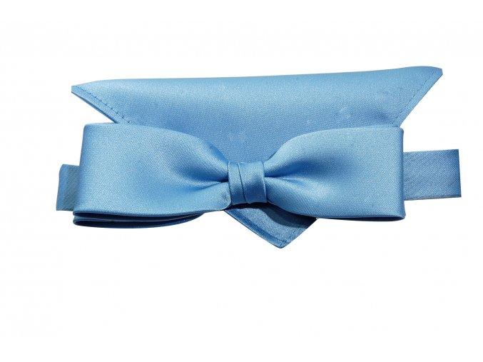 Dvojitý motýlek Brinkleys Slim s kapesníčkem - modrý