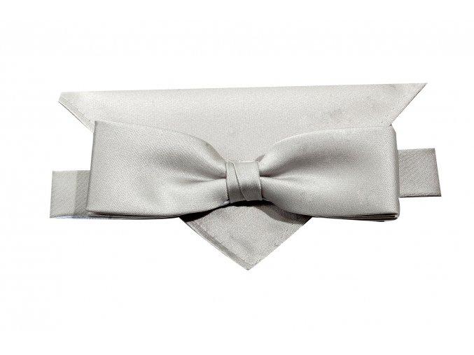 Dvojitý motýlek Brinkleys Slim s kapesníčkem - stříbrný