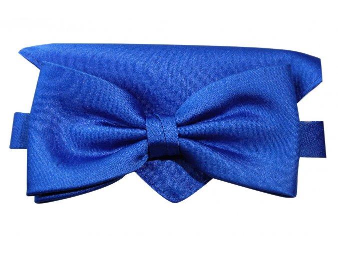Dvojitý motýlek Brinkleys Classic s kapesníčkem - královská modrá