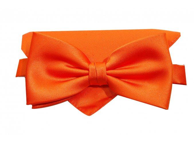 Dvojitý motýlek Brinkleys Classic s kapesníčkem - oranžový