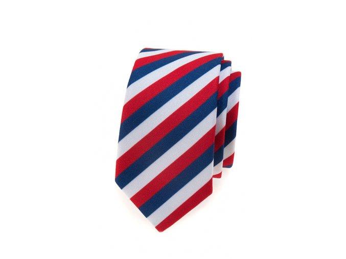 Úzká luxusní kravata Avantgard - trikolóra