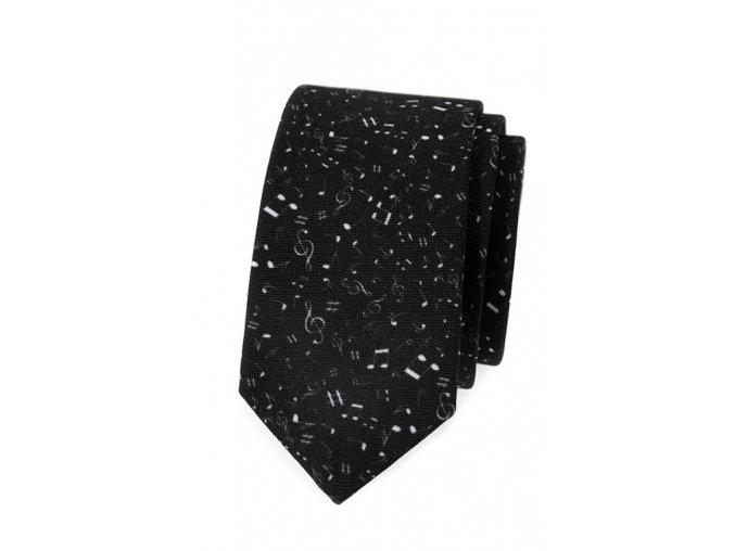 Úzká kravata Avantgard Lux - černá / nota