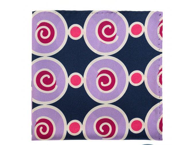 Kapesníček hedvábný PREMIUM - fialový / kruhy