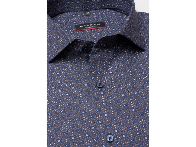"""Košile Eterna Modern Fit """"Print"""" s extra prodlouženým rukávem Modrá"""