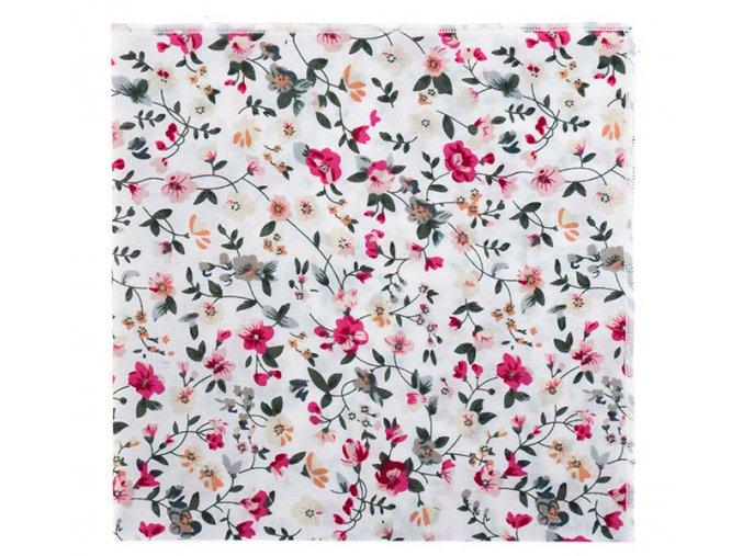 Kapesníček Avantgard LUX bílý s květy