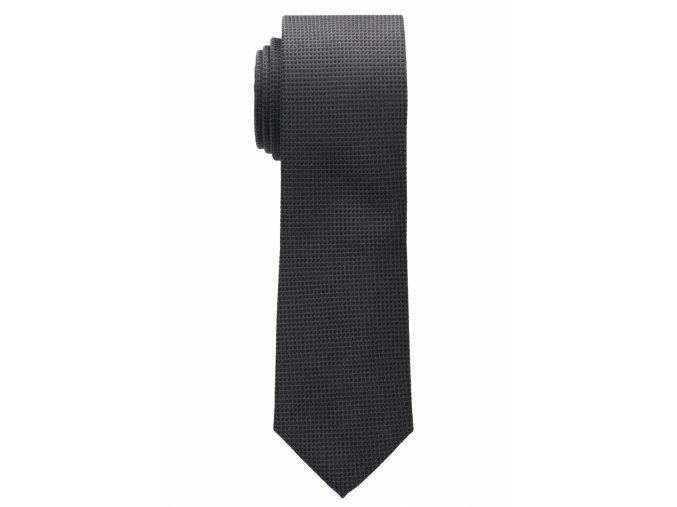 Úzká hedvábná kravata Eterna - černá