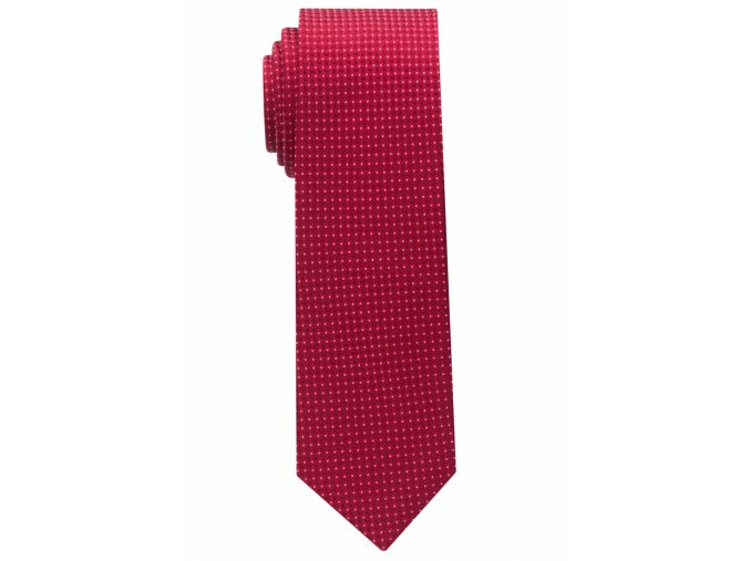 Úzká kravata Eterna - červená s bílými tečkami