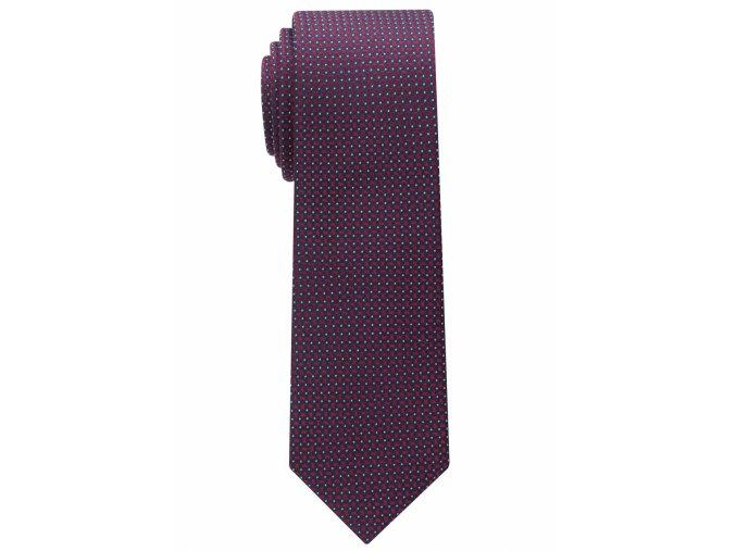 Úzká kravata Eterna - vínová s bílými tečkami