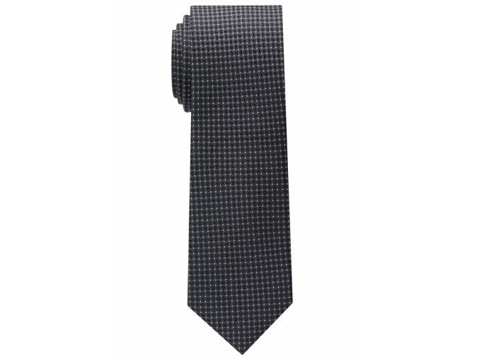 Úzká kravata Eterna - černá s bílými tečkami