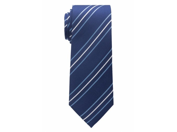 Vzorovaná hedvábná kravata Eterna - modrá s pruhy