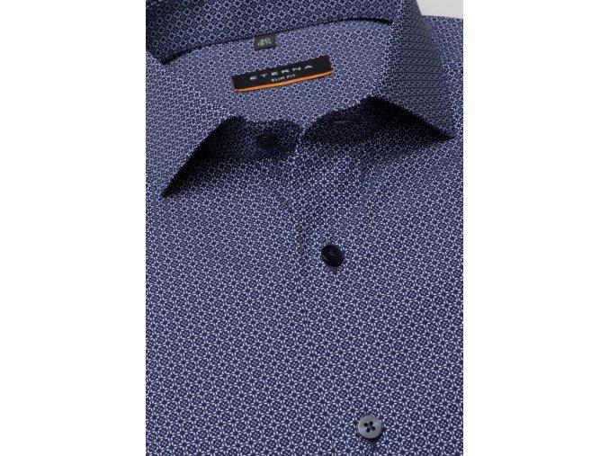 """Košile Eterna Slim Fit """"Print"""" Modrá s extra prodlouženým rukávem"""