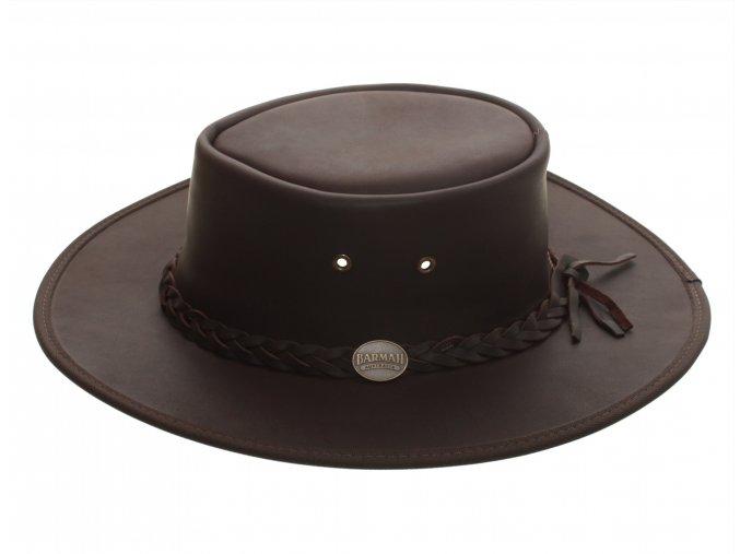 Pánský kožený klobouk Australák - hnědý