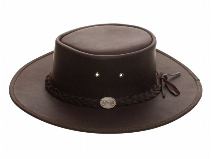 Pánský kožený klobouk Australák - hnědý broušený