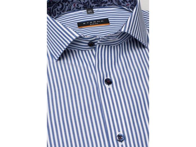 """Košile Eterna Slim Fit """"Popeline"""" Modrá s extra prodlouženým rukávem"""