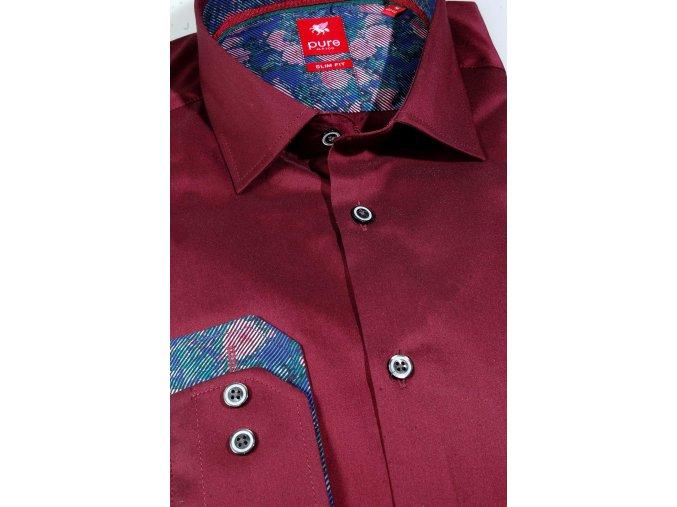 Košile Pure Slim Fit - Stretch Vínová