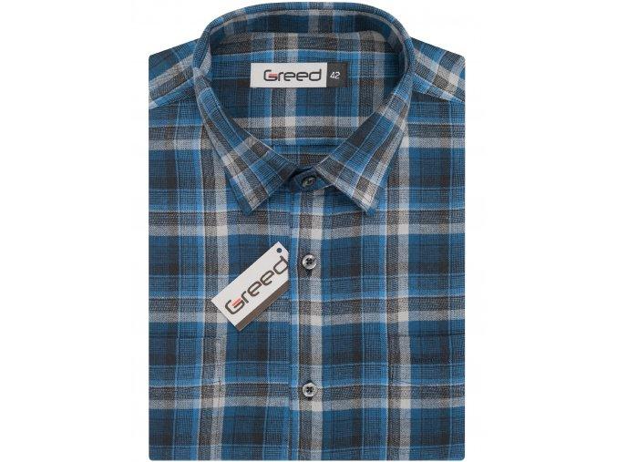 Flanelová košile AMJ Greed Comfort fit - modrá