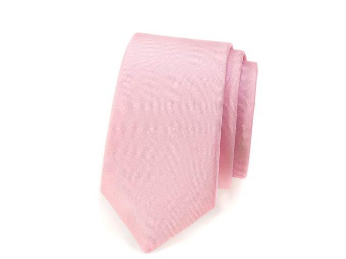 Úzká kravata Avantgard - pudrová matná