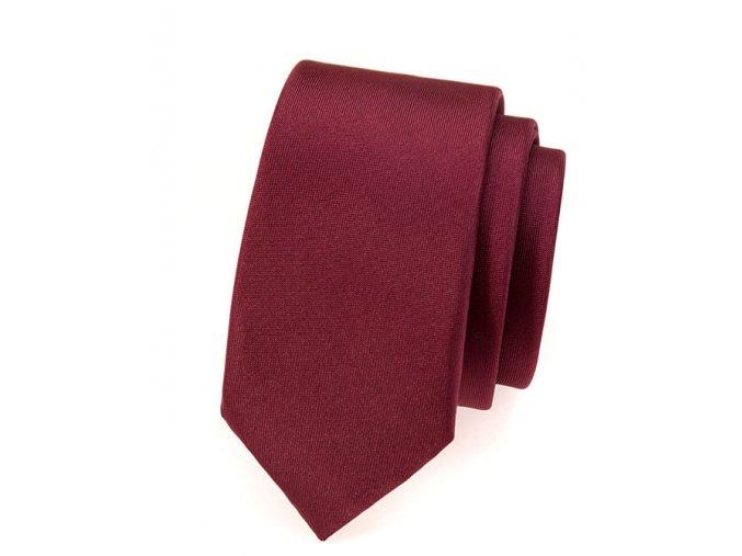Úzká kravata Avantgard - bordó matná