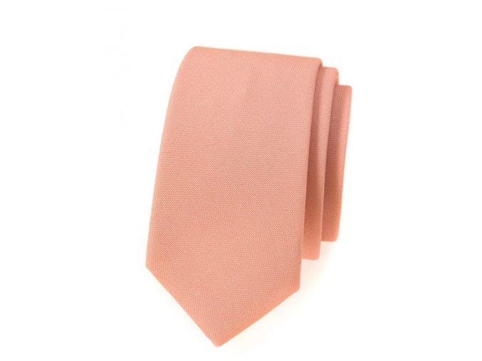 Úzká luxusní kravata Avantgard - lososová