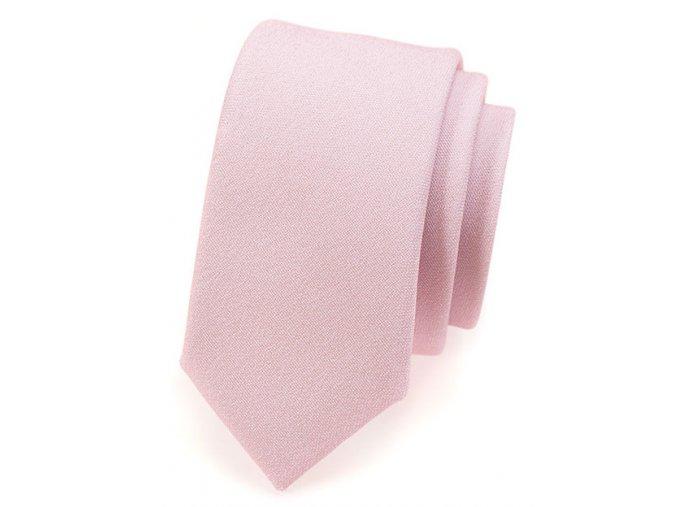 Úzká kravata Avantgard Lux - růžová