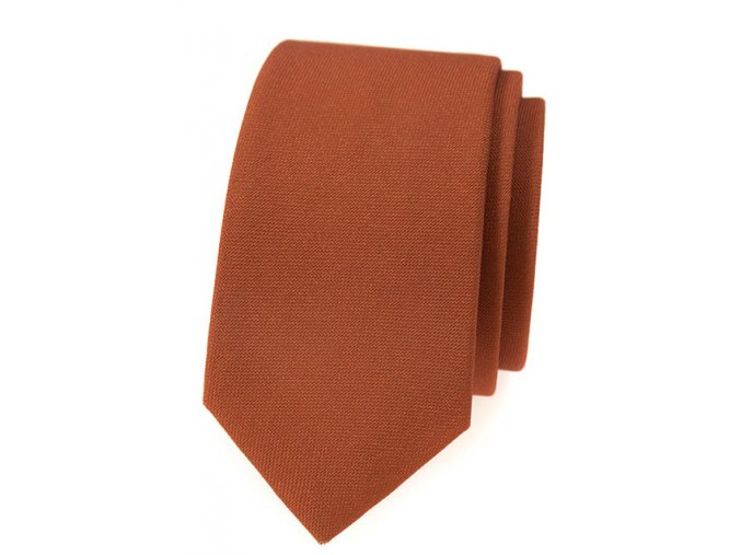 Úzká luxusní kravata Avantgard - skořicová