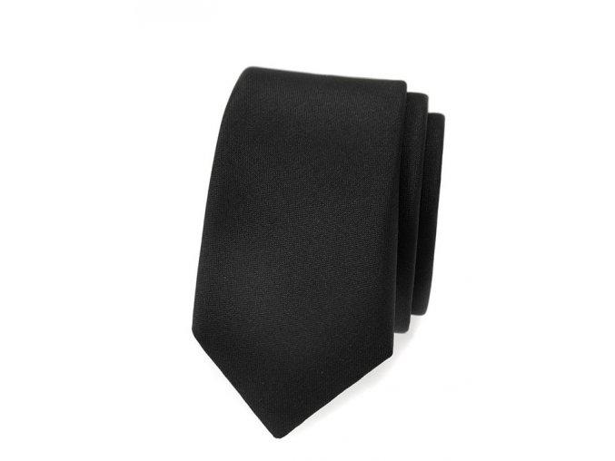 Úzká luxusní kravata Avantgard - černá matná