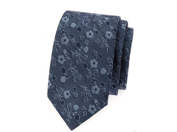 Úzká luxusní kravata Avantgard - modrá jeans