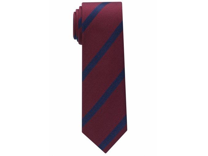 Úzká kravata Eterna - vínová s modrými pruhy