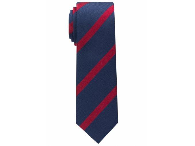 Úzká hedvábná kravata Eterna - modrá s červenými pruhy