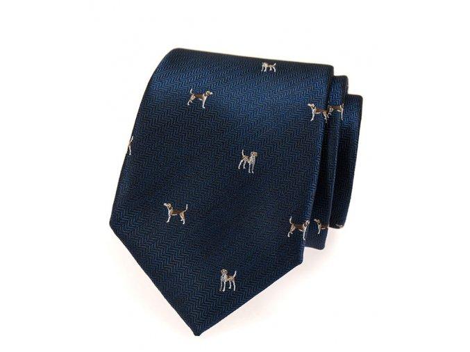 Kravata Avantgard Lux - modrá / pes